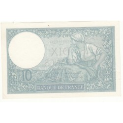10 FRANCS MINERVE 2 Février 1939 SUP+