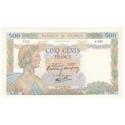 500 FRANCS LA PAIX 25 Juillet 1940 SPL