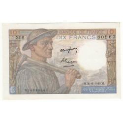 10 FRANCS MINEUR 30-06-1949 SPL Alp: T.206 Très rare
