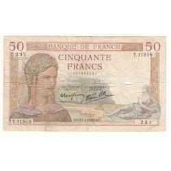 50 FRANCS CERES 11-01-1940