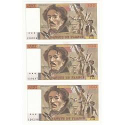 LOT 3 BILLETS 100 FRANCS DELACROIX 1980 N° SUIVIS NEUFS