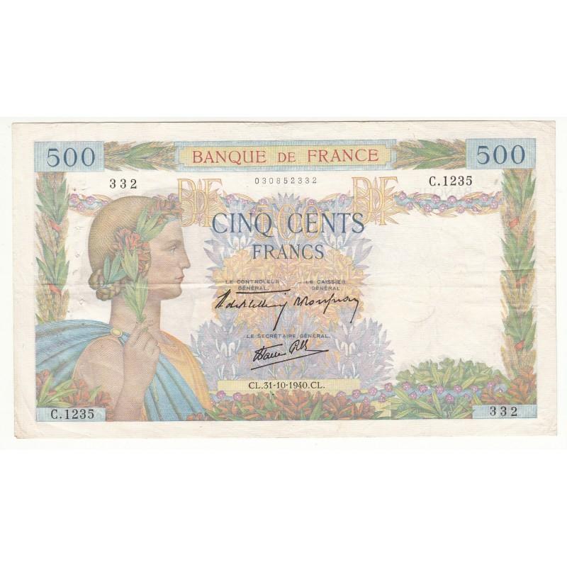 500 FRANCS LA PAIX 1 Octobre 1942 P/NEUF