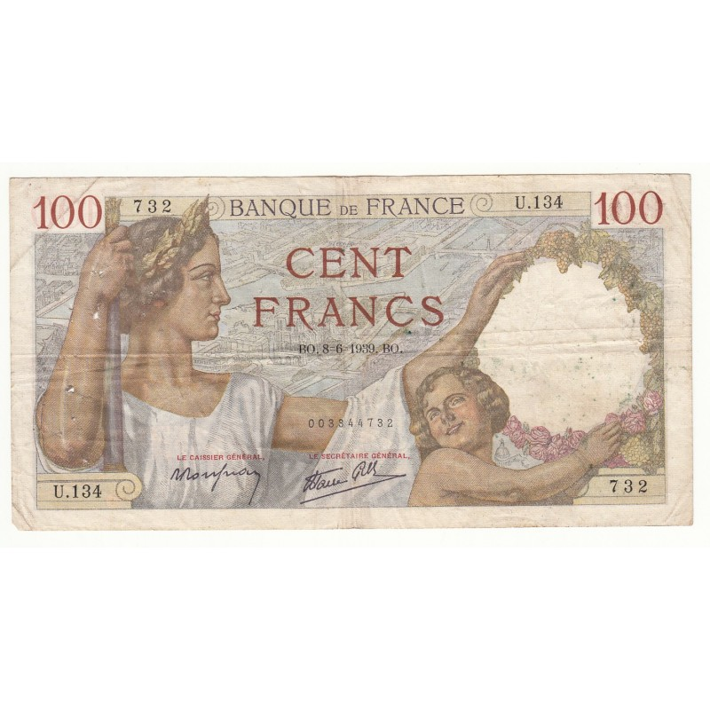 100 FRANCS SULLY 08-06-1939 TB