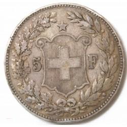 SUISSE - 5 FRANCS 1890 ARGENT/ SILVER