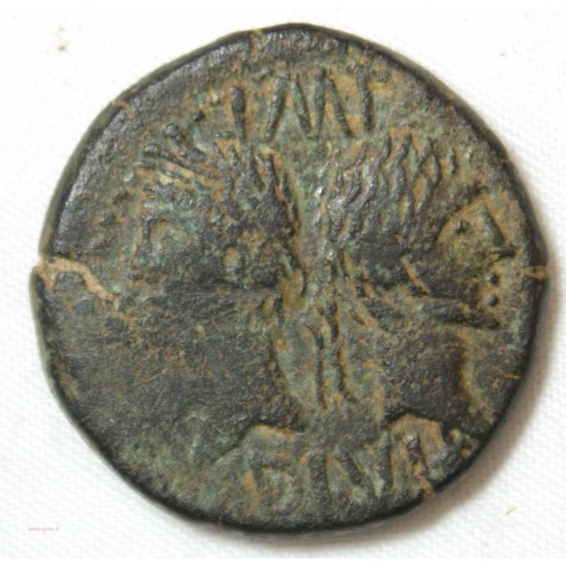 "Monnaies Romaines, As de Nîmes avec ""contremarque DD"" TB+"