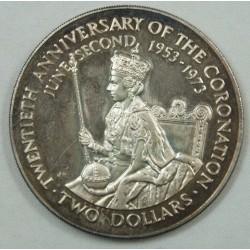 COOK ISLAND - 2 $ DOLLARS 1973 20ème anniversaire de la Coronation
