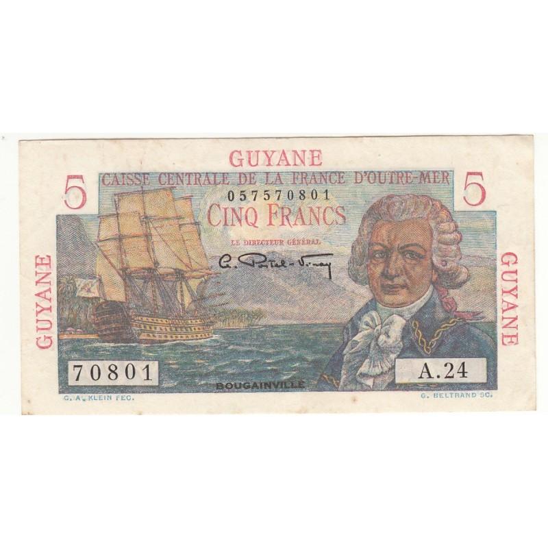French Guiana, GUYANE 5 Francs BOUGAINVILLE A.24 (UNC) NEUF P-19a 1947-49