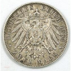 ALLEMAGNE - SACHSEN.Georg KOENIG, 2 Mark 1904 (e)