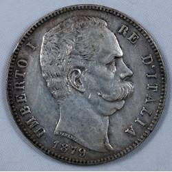 Italie - 5 lire 1879 Roma, Umberto Ier re de Italia