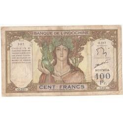 NOUVELLE CALEDONIE, BANQUE DE L'INDOCHINE, NOUMEA 100 Francs