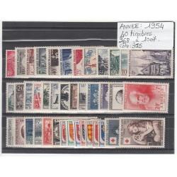 TIMBRES   ANNEE 1954 COMPLETE   N° 968 à N° 1007 NEUF** COTE 315 Euros