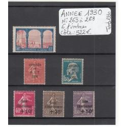 TIMBRES ANNEE 1930 COMPLETE N° 263 à 268 COTE 522 Euros NEUF** TBC