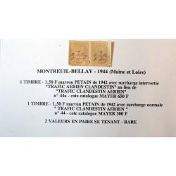 Libération Montreuil-Bellay - 1944 Trafic Clandestin Aérien N° 44a + 44 rare se tenant
