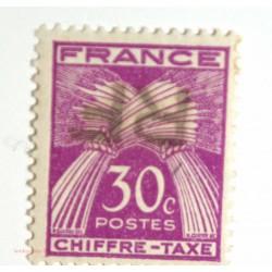 Libération Angoulème - 1944 N° 23 Taxe 30 c violet surcharge renversé