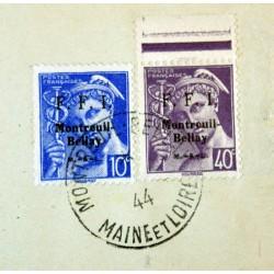 Libération Montreuil-Bellay - 1944 2 Timbres a/ texte patriotiques sur fragment