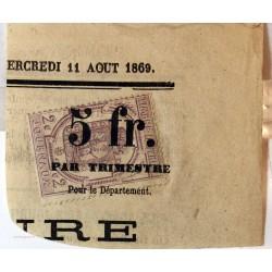 1869 - 2c. violet timbre pour journaux sur fragment