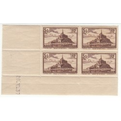COINS DATES BLOC DE 4 N° 260 TYPE II 1937 MONT SAINT MICHEL NEUF** COTE 225 Euros