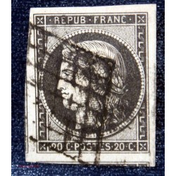 1849 - 1850 Céres n°1 10c bistre brun oblitéré belles marges
