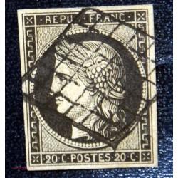1849 - 1850 20 c noir Ceres N° 3 obl grille