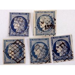 1849 - 1850 lot de 5 x 25 c bleu clair et foncé Cérès N° 4 oblitéré