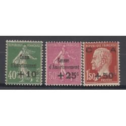 FRANCE CAISSE AMORTISSEMENT 1929 N°253 254 et 255 NEUF**  Côte 275 Euros