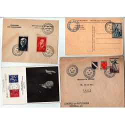 lot 8 enveloppes, cpa, fragment du Congrès de Versailles Élection R. Coty du 17 12 1953