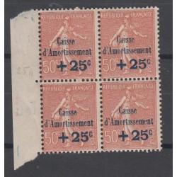BLOC DE 4 TIMBRES N°250 Bord de feuille  Année 1928 NEUF* *  Côte 360  Euros