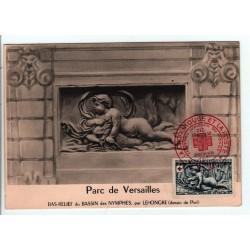 """Croix Rouge N° 938 sur Carte Premier Jour """" Versailles, Bassin de Diane """" Cachet de Metz 13 décembre 1952"""
