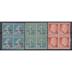 3 BLOCS DE 4 TIMBRES N° 246/248 Caisse d'Amortissement Année 1927 NEUF** Côte 296 Euros