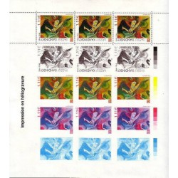 FEUILLET DE 3 TIMBRES WASSILY KANDINSKY N°3585 - AVEC 4 PHASES D'IMPRESSION NEUF**