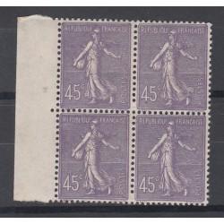 BLOC DE 4 TIMBRES N°197 ANNEE 1924 TYPE SEMEUSE NEUF** Côte 52 Euros