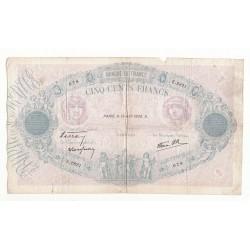 500 FRANCS BLEU ET ROSE 14 AVRIL 1938 TB Fay31.8