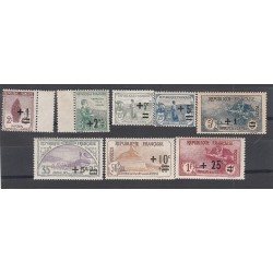 8 TIMBRES ORPHELINS DE LA GUERRE 1917 SURCHAGES N°162 à 169 1922 NEUF** Côte 530 Euros