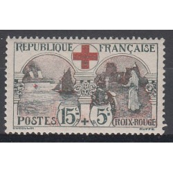 TIMBRE N°156 15 c. + 5 c. CROIX ROUGE 1918 NEUF Signé Côte 140 Euros