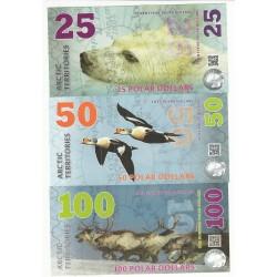 ARCTIC TERRITORIES 2017, lot 25,50,100, 250, 500 Polar dollars – Polymer, Neuf