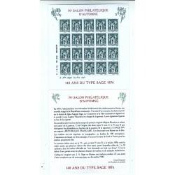BLOC FEUILLET 140 ANS DU TYPE SAGE 1876 2016 Neuf