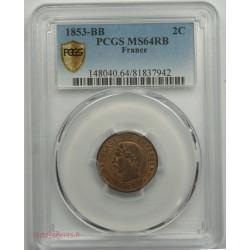 NAPOLEON III 2 Centimes 1853 BB PCGS64RB