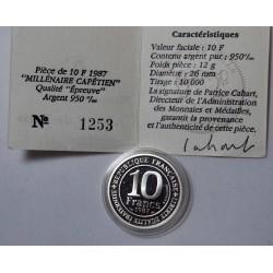 France - 10 Francs argent 1987 BE Millénaire Capétien
