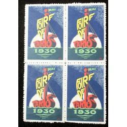 "Bloc de 4 timbres de propagande "" FOIRE DE PARIS 1930 """