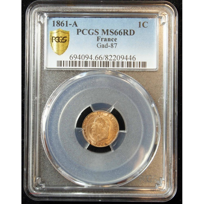 NAPOLEON III 1 Centime 1861A PCGS MS66RD FDC