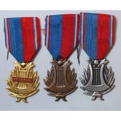 Lot de 3 médailles de la Confédération musicale de France