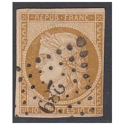 TIMBRE CERES N° 1 - 10 C. bistre signé Calvès