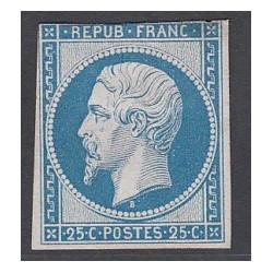 TIMBRE NAPOLEON N°10 - 25 C. neuf* réimpression signé Calvès