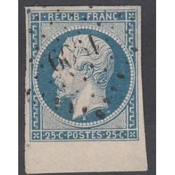 TIMBRE NAPOLEON N°10 - 25 C. oblitéré bord de feuille