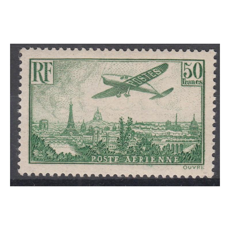 TIMBRE N°14 - 50 f. vert-jaune - 1936 - NEUF* - Signé Calvès - Côte 1200 Euros