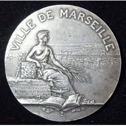 Médaille Argent - Ville de Marseille par Gustave Martin - 147.65grs 68mm