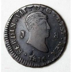 ESPAGNE - 8 MARAVEDIS FERNANDO VII, 1816 JUBIA