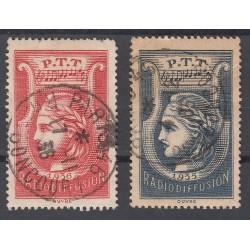 LOT TIMBRES RADIODIFFUSION 1935-37 N° 1 et N° 2 Oblitérés Côtes: 55 Euros