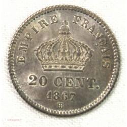 Napoléon III - 20 centimes 1867 BB Strasbourg SPL+
