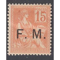 TIMBRE DE FRANCHISE 15 c. orange N°1 NEUF 1901-04  Côte 85 Euros